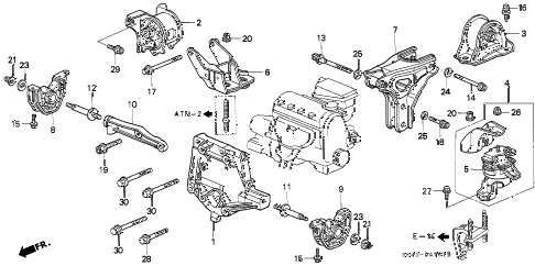 Honda online store : 1997 civic at engine mount (s4ma) parts
