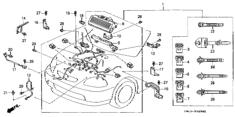 Honda online store : 1997 civic engine wire harness parts