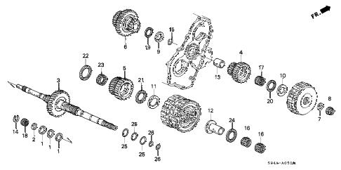 Honda online store : 1998 civic at mainshaft parts