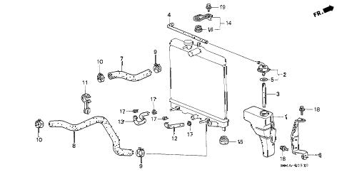 Honda online store : 1998 civic radiator hose parts