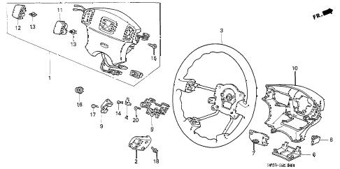 Honda online store : 1999 civic steering wheel (srs) parts