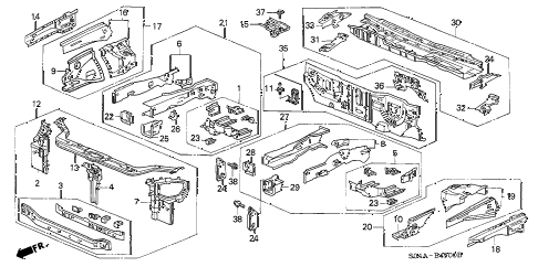 Honda online store : 1998 civic front bulkhead parts