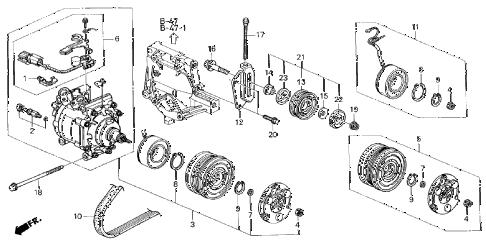 Honda online store : 2000 civic a/c compressor (sanden) parts