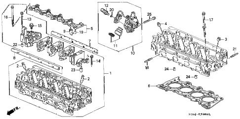 Honda online store : 1998 civic cylinder head (vtec) parts