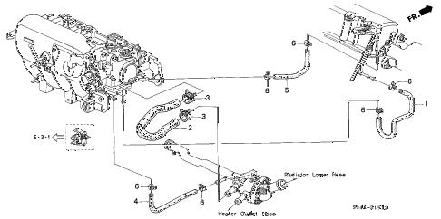 Honda online store : 2000 civic water hose (3) parts