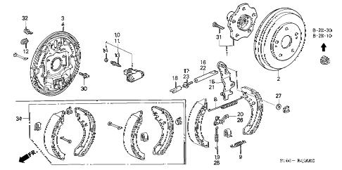 Honda online store : 2001 crv rear brake (drum) parts