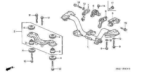 Honda online store : 1998 crv rear cross beam parts