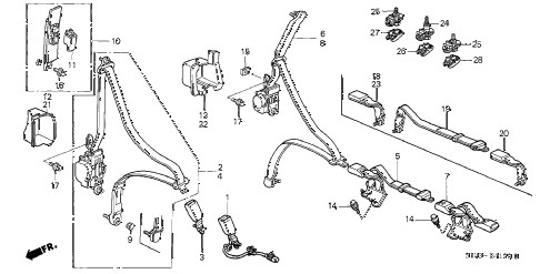 Honda online store : 2001 crv seat belt parts