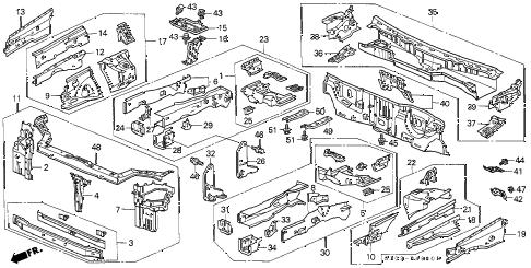 Honda online store : 1999 crv front bulkhead parts