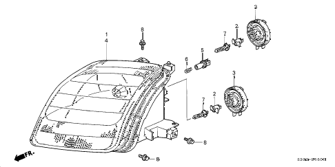 Honda online store : 2001 prelude headlight parts