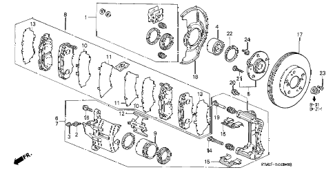 Honda online store : 1998 prelude front brake parts