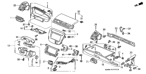 Honda online store : 2000 prelude instrument panel garnish