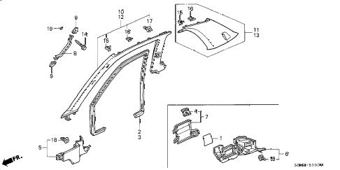 Honda online store : 2000 prelude pillar garnish parts