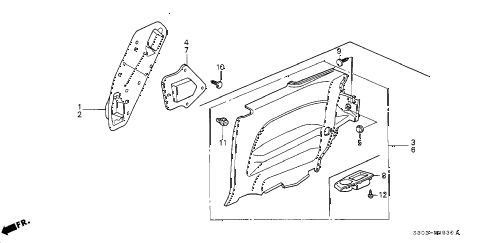 Honda online store : 2000 prelude side lining parts