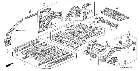 Honda online store : 2000 prelude inner panel parts