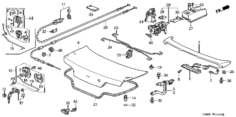 Honda online store : 1998 prelude trunk lid parts