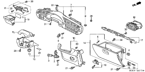 Honda online store : 2000 insight instrument panel garnish