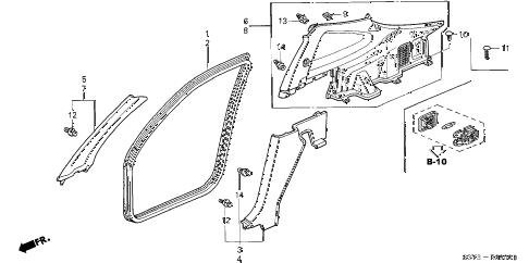 Honda online store : 2001 insight pillar garnish parts