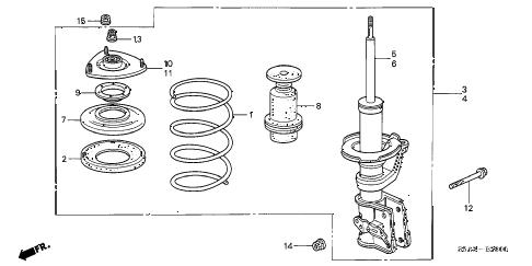 Honda online store : 2001 civic front shock absorber parts