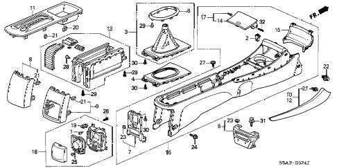 Honda online store : 2002 civic console (2) parts