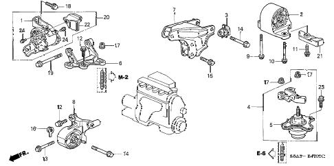 Honda online store : 2002 civic engine mounts (mt) parts