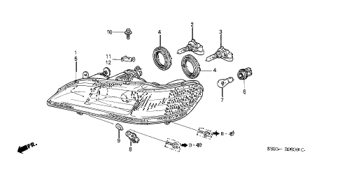 Honda online store : 2000 accord headlight parts