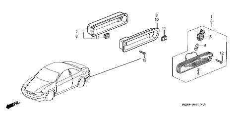 Honda online store : 2000 accord bumper side reflector parts