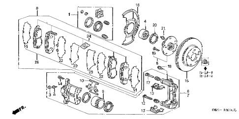 Honda online store : 2000 accord front brake (v6) parts
