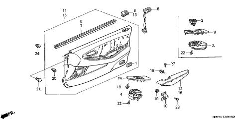 Honda online store : 2001 accord front door lining parts
