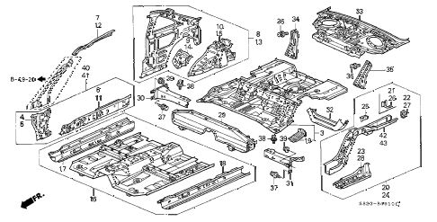 Honda online store : 2001 accord inner panel parts