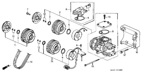 Honda online store : 1998 accord a/c compressor (v6) (1) parts