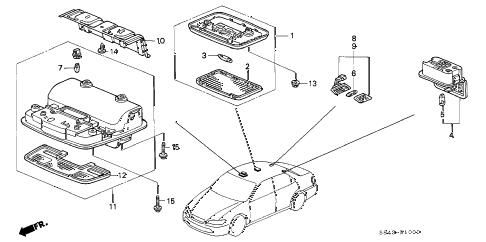 Honda online store : 2001 accord interior light parts