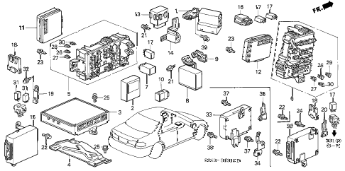 Honda online store : 1998 accord control unit (cabin) parts