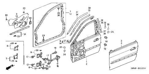 Honda online store : 1998 accord front door panels parts