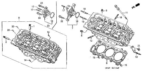 Honda online store : 1999 accord rear cylinder head (v6) parts