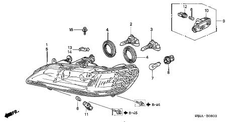 Honda online store : 2002 accord headlight parts
