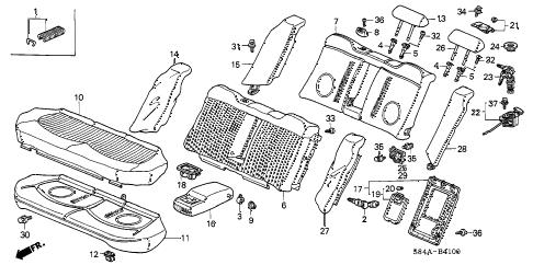 Honda online store : 2002 accord rear seat parts