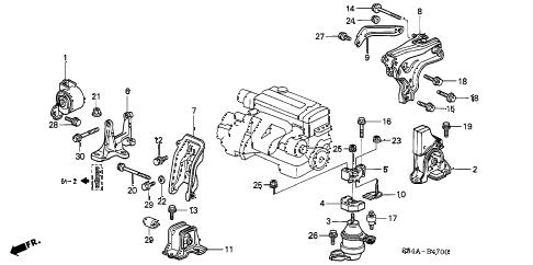 Honda online store : 2002 accord engine mounts (mt) parts