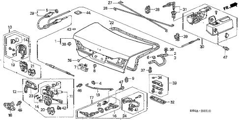 Honda online store : 2002 accord trunk lid parts