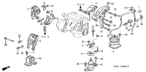 Honda online store : 2002 accord engine mounts (at) parts