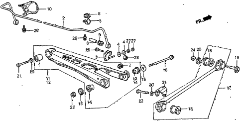 Honda online store : 1984 prelude rear lower arm parts