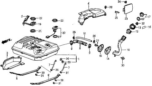 Honda online store : 1987 crx fuel tank parts