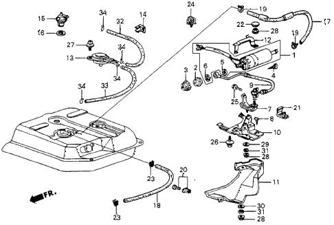 Honda online store : 1987 crx fuel pump (pgm-fi) parts