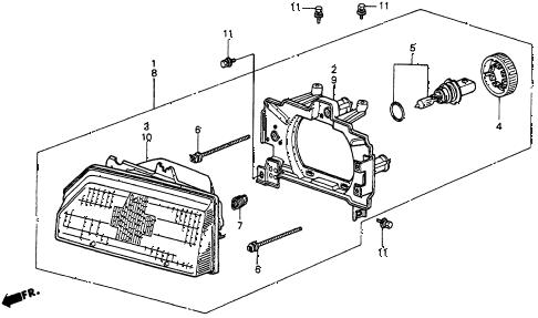 Honda online store : 1986 crx headlight ('86-'87) parts