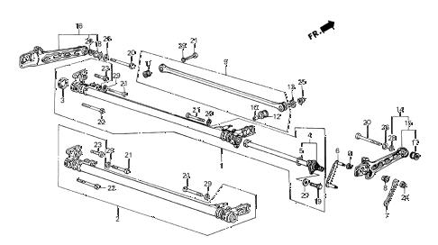 Honda online store : 1987 crx rear axle beam parts