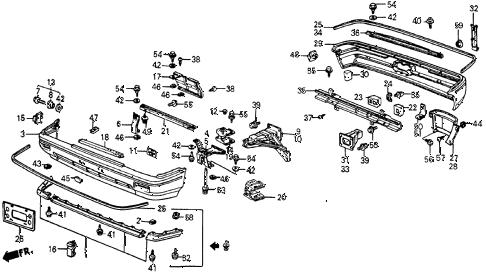 Honda online store : 1984 crx bumper (exc. 1500 dx/si