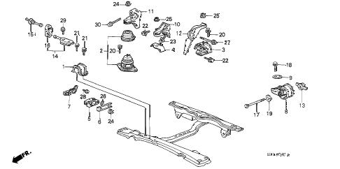 Honda online store : 1986 accord engine mount parts