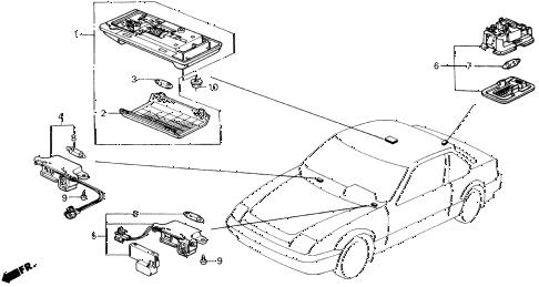 Honda online store : 1988 prelude interior light parts