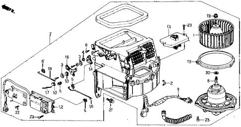 Honda online store : 1988 prelude heater blower parts