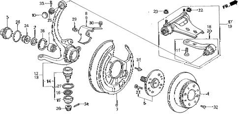 Honda online store : 1990 prelude rear brake disk parts